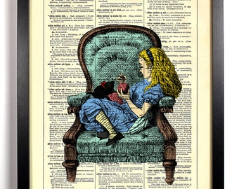 Alice With Her Kitten Alice In Wonderland, Home, Nursery, Decor, Wedding Gift, Eco Friendly Book Art, Vintage Dictionary Print, 8 x 10 in.