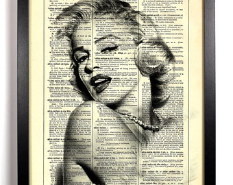 Marilyn Monroe, Home, Kitchen, Nursery, Bathroom, Office Decor, Wedding Gift, Eco Friendly Book Art, Vintage Dictionary Print, 8 x 10 in.