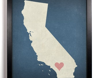 State Love California, Home, Kitchen, Nursery, Bath, Dorm, Office Decor, Wedding Gift, Housewarming Gift, Unique Holiday Gift, Wall Poster