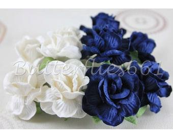 10 Blue White Handmade Mulberry Paper Flowers Wedding Scrapbooking Roses 40-BW