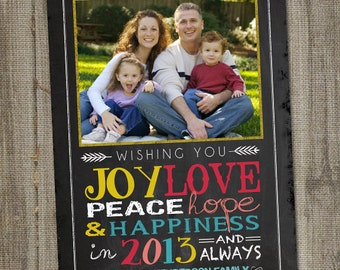 Christmas Photo Card, Chalkboard, Happy New Year's Wishes, PRINTABLE, DIGITAL, Holiday Photo Card, Photo Card Template