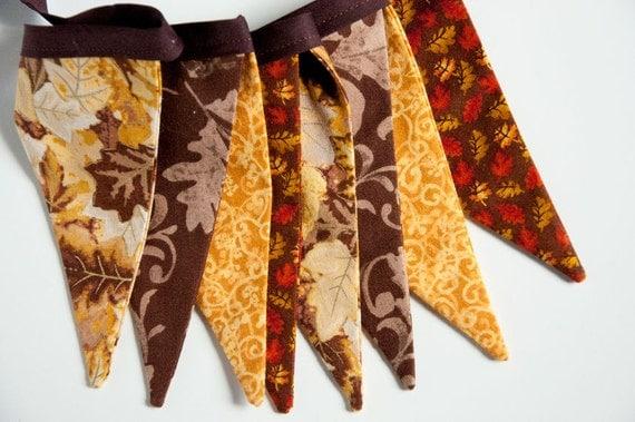 SALE: Fabric Bunting - Autumn Wedding, Fall Wedding, Banner, Reversible, Autumn Home Decor, Fall Bunting Banner, Fall Bunting Banner (LONG)