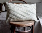 Contemporary Designer Pillow / Cushion Cover. Hexagon Recycled Vintage Kimono Wool / Natural. LAST TWO.  Linen.