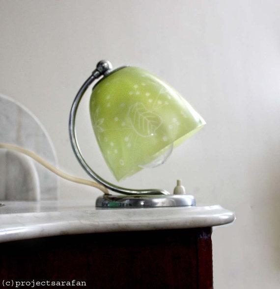 Vintage Art Deco Lamp. Adjustable Translucent Chartreuse Green Glass Shade Simple Floral Line Detail. Chromium Base. Rare vintage lighting