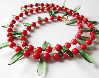Red Cranberry Green Leaf necklace. 351