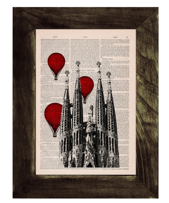 Decorative arts - Barcelona Sagrada Familia, Red hot air Balloons print, Gaudi Architecture Monuments art, office decor,red balloons BPTV019