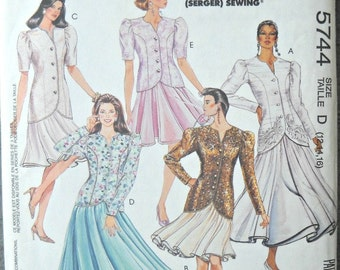 McCall's 5744, Misses Two-Piece Dress, (Jacket and Skirt) Pattern, Sizes 12, 14, 16, Vintage 1992