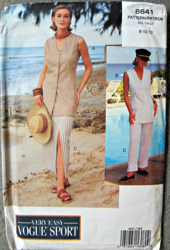 Very Easy Vogue Sport 8641 Misses Top, Skirt, and Pants Pattern, Size 8, 10, 12