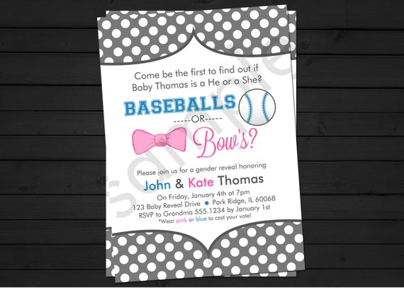 Gender Reveal Baseballs OR Bows Invitation by ShesTutuCuteBtq