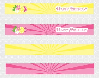 Party Printable Lemonade Party Mini Flags, lemon, grapefruit, pink, yellow, drink, summer, birthday, summer