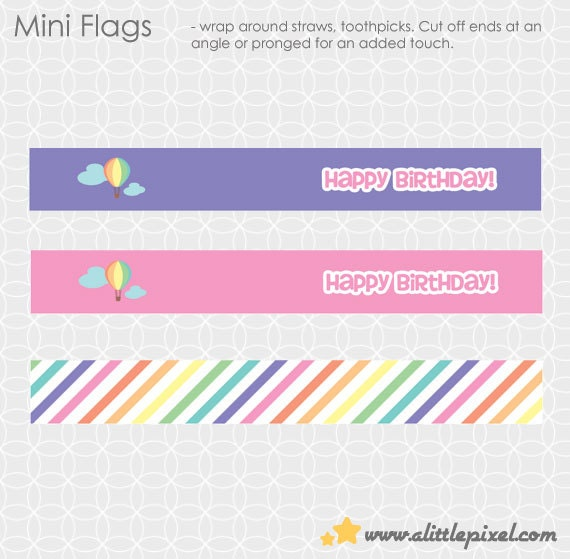Party Printable Air Balloon Up Up and Away Party Mini Flags - hot air balloon, heart, pink, purple
