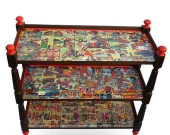 Funky Victorian Trolley/ Bar / TV/ bookshelf with vintage comic book lining - Fab