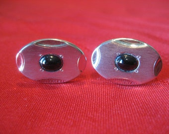 Vintage Silver and Onyx Cufflinks by Foster