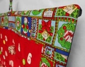 READY TO SHIP/Christmas Advent Calendar /  in Santa and Snowman Collage/ Christmas Countdown Calendar with Pockets