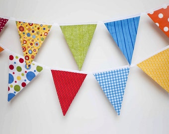 Bright Fabric Banner in Red, Orange, Blue, Yellow and Green/ Party Banner/ Photo Prop/ Carnival or Circus Party/ Room Decor