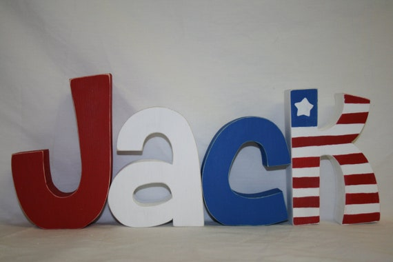 Items Similar To Baby Name Letters Red White And Blue Kids