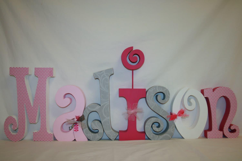 Nursery letters baby girl nursery custom wood by for Baby nursery letters