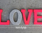 """Pink Neon Pink and White 5"""" Glitter Sparkle Rhinestone Stand-Up Stand Alone Wooden Love Letters"""