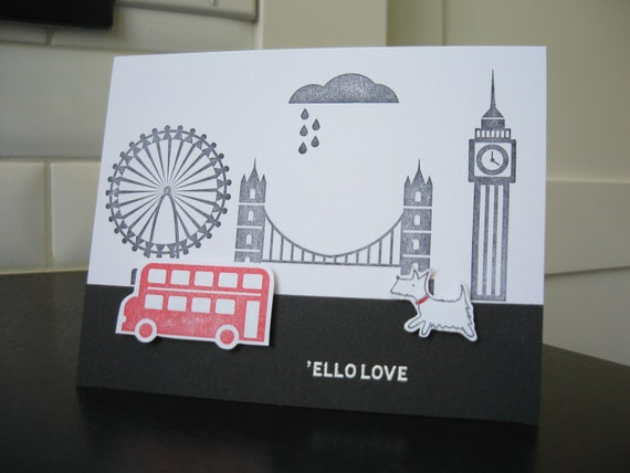 Thinking of You Card London British United Kingdom Hello Love West Highland Terrier