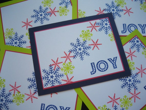 Reserved for Nadine Snowflake Christmas Cards Lime Green and Navy Blue Set of 20