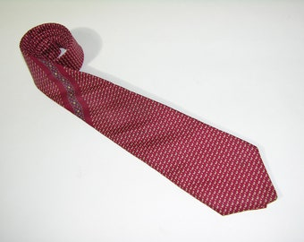 "vintage Yves Saint Laurent Men's neck tie. Foulard Silk. Narrow 3"" width. Brick Red"