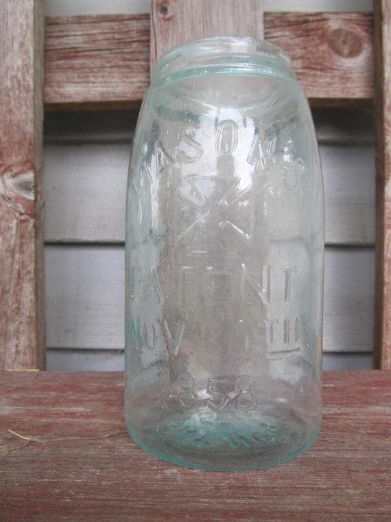 Antique Blue Hero Cross quart mason jar hand blown