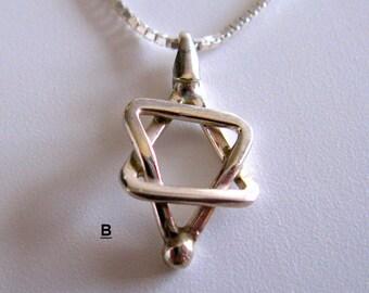 Sterling Silver Star of David Charm Pendant. Jewish Judaica. Handmade Talisman Charm  מגן דוד מכסף