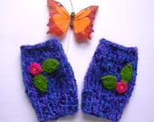 Fingerless Mittens, Wrist Warmers w/ Floral Design, Fingerless Gloves, Blue Purple, Practical Stylish, Adult Small
