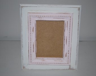 Off white with light pink trim distressed 5 x 7