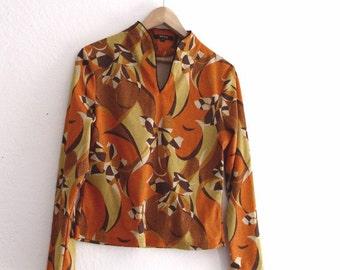 Unisex Vintage Metalic  Pychedelic Abstract Print Shirt