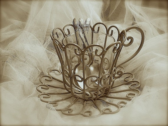 Upcycled wrought iron tea cup caddy flatware caddy make up - Wrought iron flatware ...