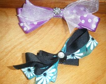 OOAK Hair Clips,  Lavender Crystal Clip, Blue Pearl Clip, Black Pearl Clip , OOAK Hair Accessories