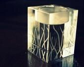 25% OFF SALE: Custom Engraved GRASS Design Crystal Cube Candle Holder