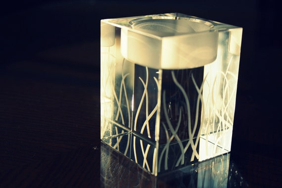 25% OFF SALE: Custom Engraved GRASS Design Crystal Cube Candle Holder