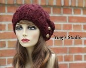 Hand Knit Slouchy Hat - Wool Blend - Cable Knitted - Bronze Button - Dark Red - Claret - Fall Fashion - Winter Accessory