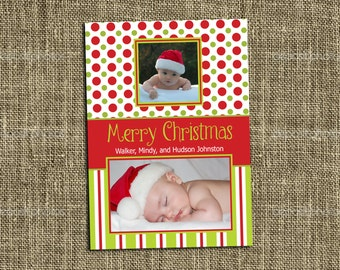 PRINTABLE CHRISTMAS CARD Red and Green Polka Dots and Stripes Photo Card - Merry Christmas - Happy Holidays - Memorable Moments Studio