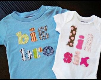 big bro t shirt and lil sis or lil bro onesie
