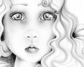 Pencil Drawing OOAK an Original Pencil Drawing Fine Art Fantasy Illustration / Drawing  Black and White grey ohtteam - ABitofWhimsyArt