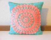 decorative pillow cover / 14 x 14 / vintage doily applique / aqua and coral