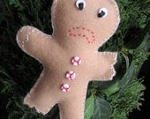 Half Eaten Gingerbread Man - Felt Ornament