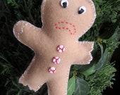 Half Eaten Gingerbread Man - Felt Ornament