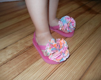 Toddler Flip Flops with fun fabric flowers