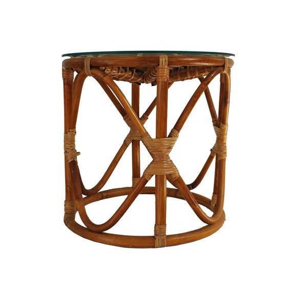 Rattan Coffee Table Etsy: Vintage Rattan Table / Bohemian Wicker Glass Top Table