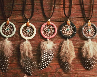 DN-01, Dreamcatcher necklace with guinea feather, recycled yarn,upcycled,native american, color option,hippie,boho