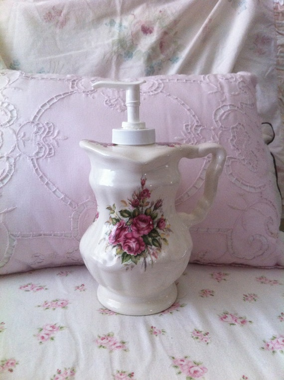 Shabby Chic Floral Pink Roses Ceramic Soap By Shabbywhitecow