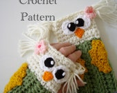 Crochet Owl Fingerless Gloves Pattern PDF
