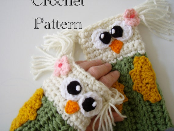 Crochet Owl Fingerless Gloves Pattern PDF
