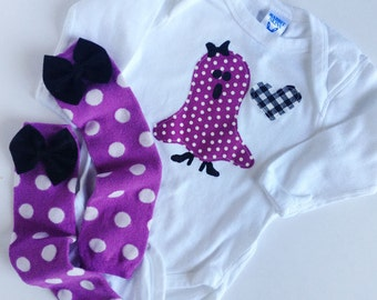 Ready to ship 18m halloween ghost girl one piece and purple polka dot baby leg warmers with bow