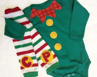 Green Elf Costume Christmas Onesie with Initial Baby Leg Warmers, Personalized