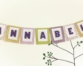 Personalized Fabric Banner,  Birthday Bunting, Wedding Garland, Purple Baby Shower Party  Flags